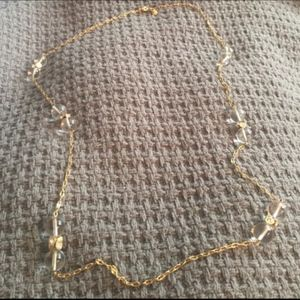 CLASSIC J CREW LONG CLEAR + GOLD BAUBLE NECKLACE